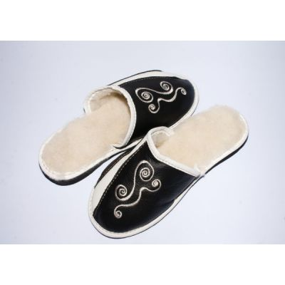 Women's Leather Slippers With Sheep's Wool and Embroidery