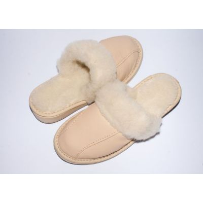 Women's Light Beige Leather Slippers With Sheep's Wool