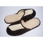 Men's Dark Leather Slippers With Sheep's Wool