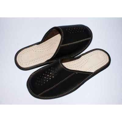 Men's Casual Black Leather Slippers