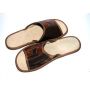 Men's Hand-Stitched Brown Leather Slippers