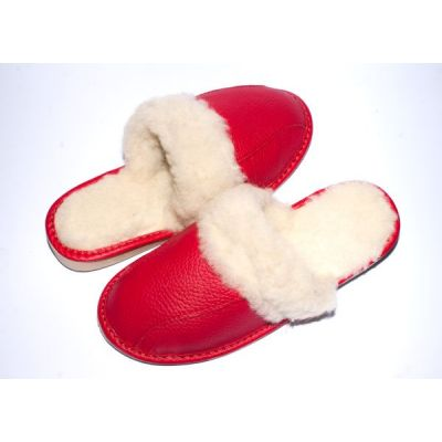 Women's Slippers Red Leather With Sheep's Wool