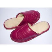 Women's Fuchsia Leather Slippers With Sheep's Wool