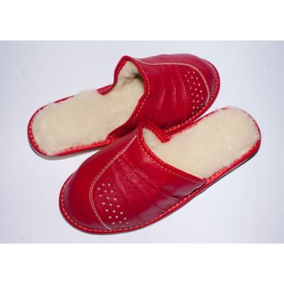 Women's Red Leather Most Comfortable Hotter Slippers