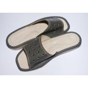 Women's Gray Leather Slippers