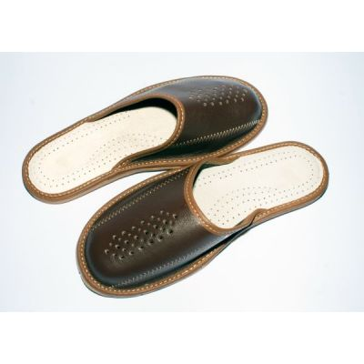 Classy Men's Custom Leather Slippers (brown)