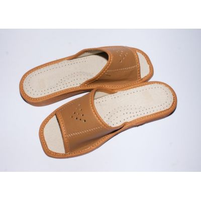 Women's Brown Leather Slippers
