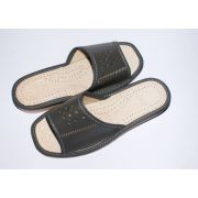 Women's Healthy Gray Leather Slippers