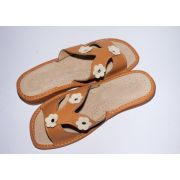 Women's Brown Leather Slippers with Flowers