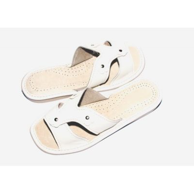 Women's White Leather Cheap Slippers