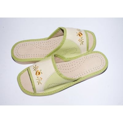 Women's Green and White Leather Slippers with Embroidery