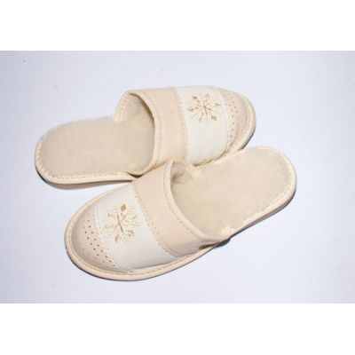 Women's Leather Sheepskin Slippers with Embroidered Snowflake