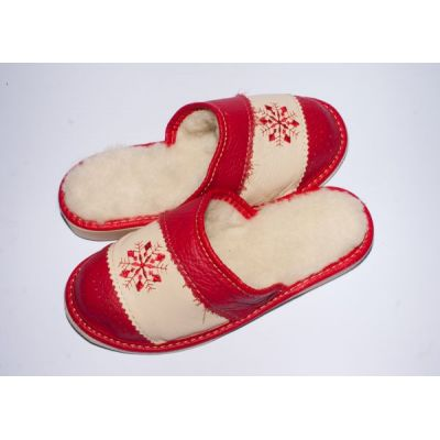 Women's Red Leather Slippers Sheep's Wool with Snowflake