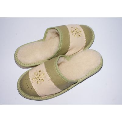 Women's Olive Leather Slippers Sheep's Wool with Snowflake
