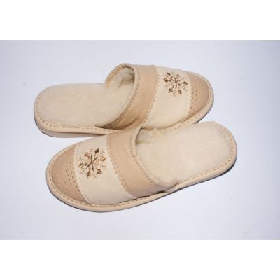 Women's Slippers Beige Leather Sheep's Wool with Snowflake