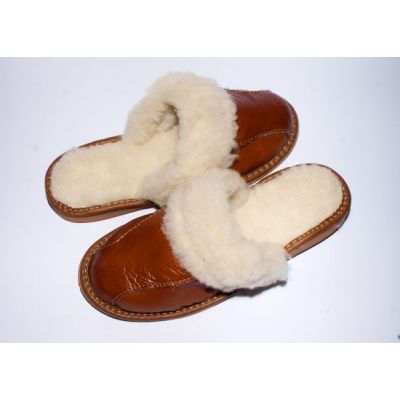Women's Brown Leather Slippers With Sheep's Wool