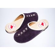 Women's Suede Slippers With Wooden Sole