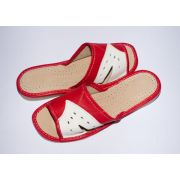 Women's Red with White Leather Comfortable Slippers