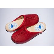 Women's Red Leather Slippers With Wooden Sole