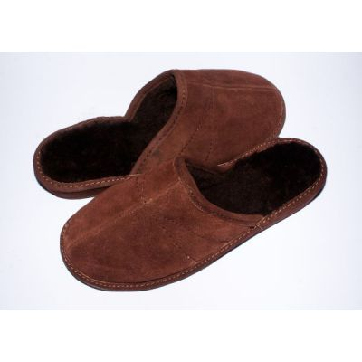 Men's Dark Brown Suede Slippers With Sheep's Wool