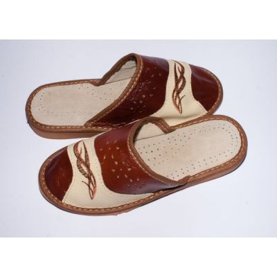 Women's Brown and Beige Leather Slippers with Embroidery