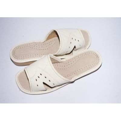 Women's White Leather Comfy Slippers