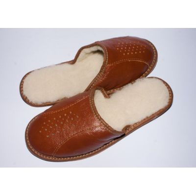 Men's Brown Leather Sheep's Wool Slippers