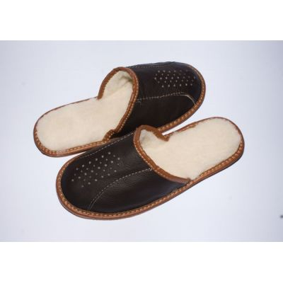 Men's Dark Brown Leather Slippers With Sheep's Wool
