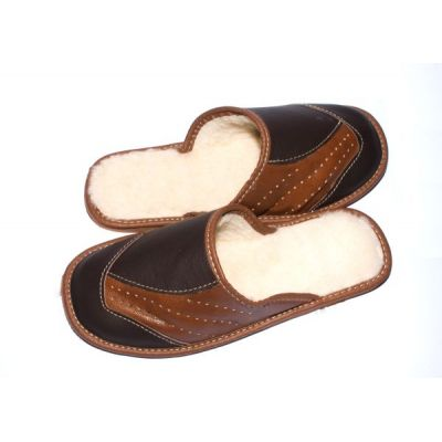 Men's Brown Leather Slippers With Sheep's Wool