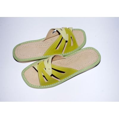 Women's Green Leather Slippers