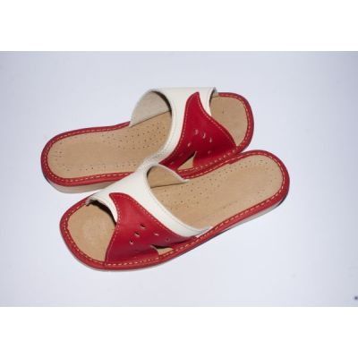 Women's Red and White Leather Slippers