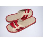 Women's Red and Beige Leather Slippers