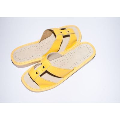 Women's Yellow Leather Slippers