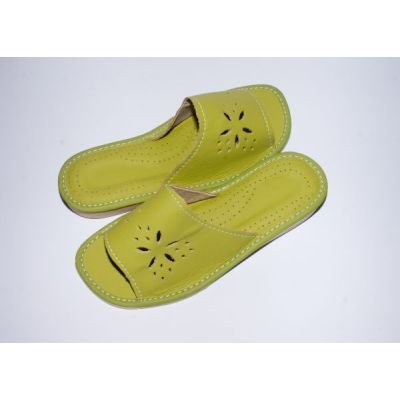 Women's Green Leather Comfortable House Slippers
