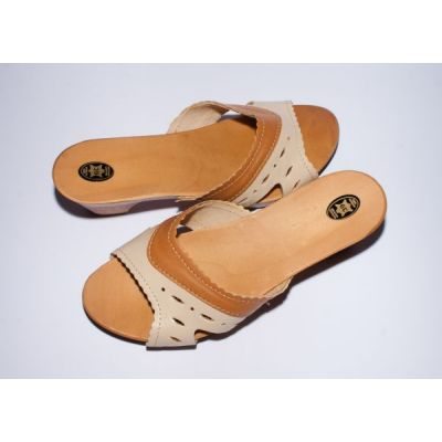 Women's Light Beige Leather With Wooden Sole Slippers