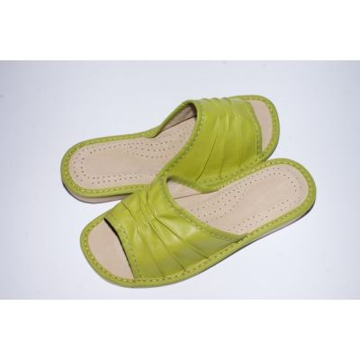 Women's Olive Leather Slippers