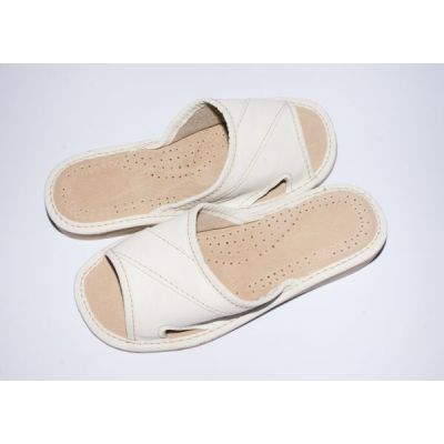 Women's White Leather Good Slippers