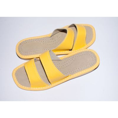 Women's Lemon Leather Slippers