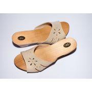 Women's Wooden Sole Light Beige Leather Slippers