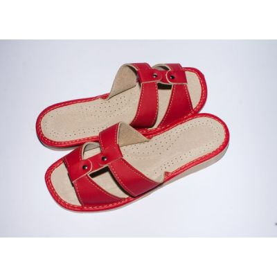 Women's Scarlet Leather Slippers