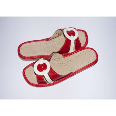 Women's Red with White Leather Slippers