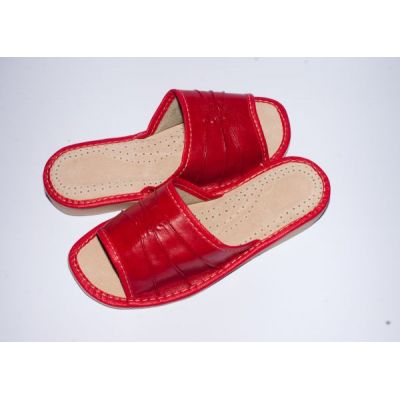 Women's Red Leather Cheap Slippers