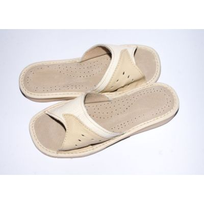 Women's White with Beige Leather Slippers