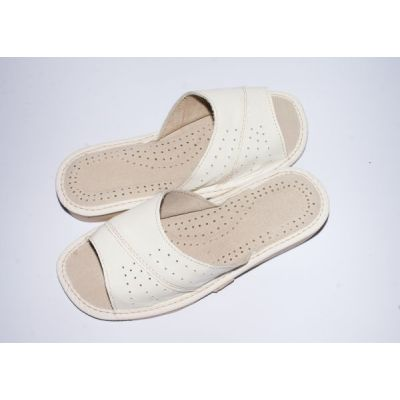 Women's White Leather Comfortable House Slippers