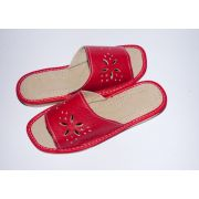 Women's Red Leather Slippers