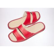 Women's Red Leather Comfy Slippers