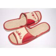Women's Red and Beige Leather Slippers with Embroidery
