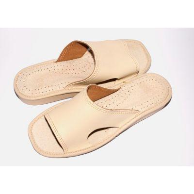 Women's Beige Leather Comfort Slippers