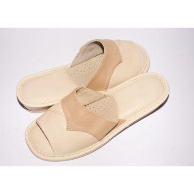 Women's Beige Leather Slippers