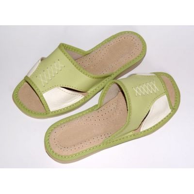 Women's White and Green Leather Slippers
